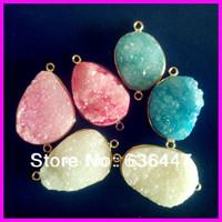 6Pcs/Lot Beautiful Freedom shape blue and peach stone bead,natural semi-precious stone crystal Quartz agate slice connector