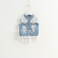 Beans 2014 children's spring clothing female child denim chiffon vest 7014