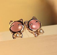 cat jewelry fashion girl alloy plated women stud Earrings free shipping 40119