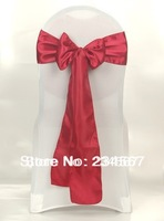 150pcs red wine satin chair sash bow ribbon wedding party banquet decoration free shipping