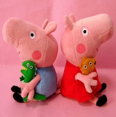 2 pçs/lote chegam novas 30 cm bonito Peppa Pig com urso de peluche George porco de pelúcia boneca brinquedos de pelúcia Plush dos desenhos animados do luxuoso caçoa o presente FH041(China (Mainland))