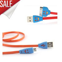 SMILE FACE NOODLE FLAT MICRO USB SYNC Charge Charging Data Cable Cord for Ssamsung S3 S4 HTC motorola