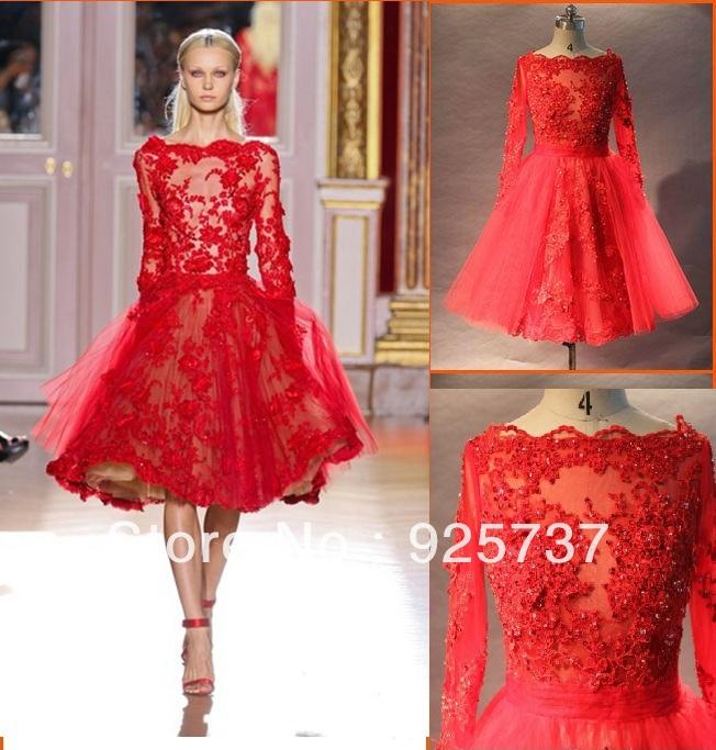 Elie saab couture красный кружевной аппликацией