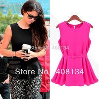 TP2217B Free shipping  Womens Chiffon Vest Top Tank Sleeveless Shirt Silm Vogue Trend Blouse Shirt Cliffon Belt S M L XL
