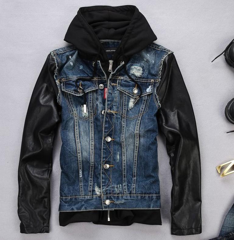 Jean jacket with hoodie men's
