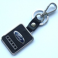 Free shipping car logo keychains brand logo key chains alloy steel and leather key rings car accessories keyrings DF13