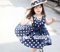 Girl Dress 2014 New Summer Fashion Girls Sleeveless Dress cotton navy/white cute knee length princess casual girl Dots with belt