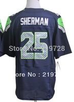 Free shipping #25 Richard Sherman Blue White Gray Black Men's Authentic Elite Football Jersey Embroidery logos Size M-XXXL