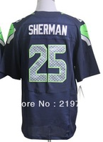 Free shipping #25 Richard Sherman Blue White Gray Black Men's Authentic Elite Football Jersey Embroidery logos Size M-XXXL
