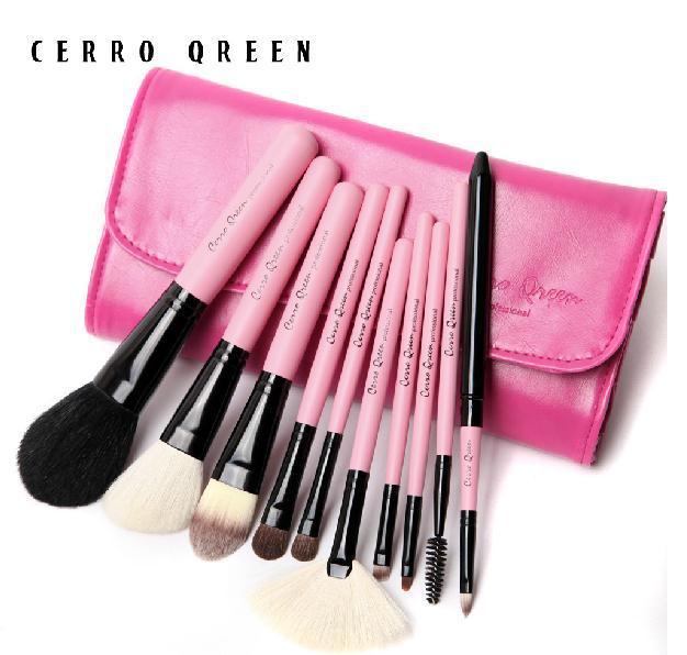 2014 new free shipping B cosmetic brush set kits natural animal wool 10 pcs blusher makeup make-up tool professional m148(China (Mainland))