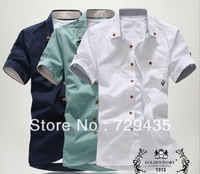 Free shipping 2014 new style Men's Fashion casual Short Sleeve Shirts high quality Summar Slim Shirts MCS1415
