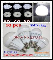 Free shipping 10 pcs E27 B22 SMD 2835 LED Bubble Ball Bulb 3W 5W 7W 9W 12W 15W AC220-240V Umbrella steep light spotlight Lamp