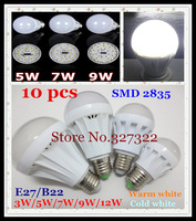 Free shipping 10 pcs E27 B22 SMD 2835 LED Bubble Ball Bulb 3W 5W 7W 9W 12W 15W AC220-240V Umbrella steep light spotlight Lamp
