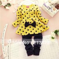 2014 Autumn-summer Children Clothing Sets Baby Girls Suits Long Sleeve T-shirt+Long Pants Kids Twinset freeshipping