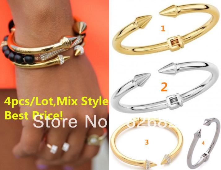 Free Shipping 4PCS/lot 2014 New Fashion Mini Titan Bracelet Crystal Embellish Two Spiked Ends Hinged Center Blogger Favorite(China (Mainland))