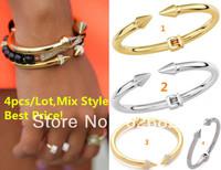 Free Shipping 4PCS/lot 2014 New Fashion Mini Titan Bracelet Crystal Embellish Two Spiked Ends Hinged Center Blogger Favorite