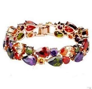 High Quality 18cm Fashion 18K Rose Gold Plated Mona Lisa Zircon Bracelet for Women Multicolor CZ