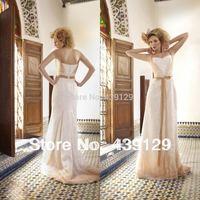 2014 Spaghetti Strap Floor Length Lace Ribbon Sash Champagne Wedding Dress