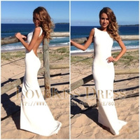 Sexy Vestidos Off The Shoulder Sleeveless Mermaid Chiffon Backless Long Prom Evening Dress 2014 New Arrival DYQ1035