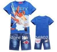 New 2014 Retail Children Set Cartoon DUSTY PLANE fashion suit boys jeans sets t-shirt+pant 2pcs Kids Clothing free shipping