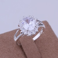 VSR268 Fashion Jewelry Oval Zirconia Bijouterie Promise Ring 925 Sterling Silver Plated Engagement Ring