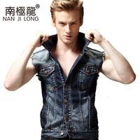 S-4XL New arrival 2014 Men denim vest Outdoor slim Casual sleeveless jacket fashon jeans vest outerwear sports
