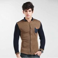 2014 new men handsome stitching shirt Slim Korean long-sleeved shirt / spring