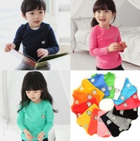 2014 spring new children's candy bear baby boys and girls long-sleeved cotton T-shirt with 5size 7colors freeshipping 6059