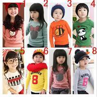2014 New summer spring boys girls kid t-shirts cotton long sleeve children t shirts cartoon candy color t shirt free shipping