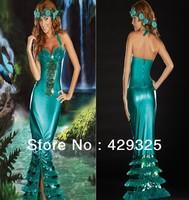 New 2014 sexy Mermaid Evening dinner dresses Green forest goddess Ladymotion sexy mermaid costume leotard halloween women dress