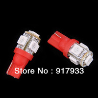 10 X T10 DC 12V 1W 5 SMD 5050 192 168 194 W5W Xenon LED Light Wedge Car Bulb Lamp white blue red green yellow pink