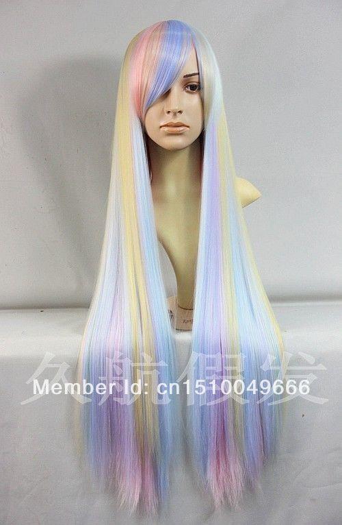 FREE SHIP>>> cosplay Harajuku lolita long Straight hair gradient Rainbow Full cos Wig(China (Mainland))