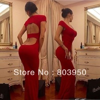 Sexy Vestidos Cap Sleeve V Neck Out Cut Red Mermaid Slim Long Prom Evening Dresses Bridal Event Gown 2014 New Arrival DYQ1040