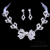 2014 Fashion Women Jewelry Lace Bowtie Collar Necklace Jewelry Set