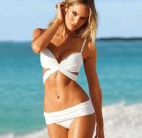 Fashion Women Push Up Padded Swim wear Sexy Swim suit  Bottom Black white Bikini Set