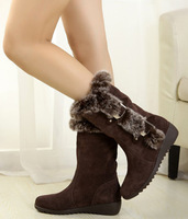 Sweet flat medium-leg wedges boots winter boots fur boots casual shoes cotton-padded shoes cotton boots snow boots female