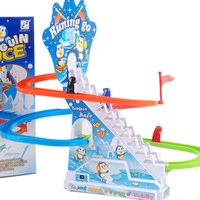 Interesting little penguin climb stairs toys for children, slide toy with light and music, baby new year gift + free shipping