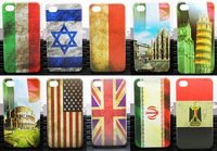 Vintage National Flag US UK Flag Effiel Tower Hard PC Phone Case for Iphone 4 4s