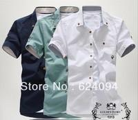Free shipping 2014 new style Men's Fashion casual Short Sleeve Shirts high quality Summar Slim Shirts MCS1415