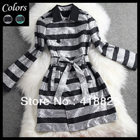 2014 winter spring designer women's trench coat silver green striped flower print adjustable belt fashion vintage brand trench