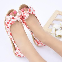 2014 Satin Fabric Printing Leather Shallow Mouth Bow Sandals Flat Heel Open Toe Shoe Women'S Flower Flat Shoes XG5-06