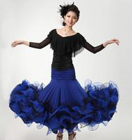Modern dance practice skirt fish bone roll-up hem skirt ballroom dancing square dance expansion tz011 half-length skirt