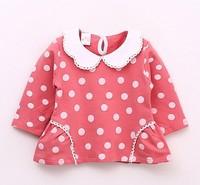 Baby girls kids polk dot lace collar long sleeve tops 2 colors