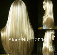 Sell long golden Blonde mix straight  Lady Full  Lace Party Cosplay Costume Wig,Natural wig