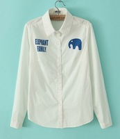 2014 New Arrival Fashion Ladies' Alphabet elephant printing lapel long-sleeved shirt st012