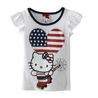 Newest Baby girls US flag heart cat print sleeveless tops summer T-shirt