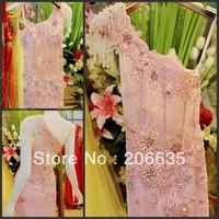 On Sale Glass Crystal Pink Lace One Shoulder  Mermaid evening Dresses Rhinestones 25% off  NEWE-0517