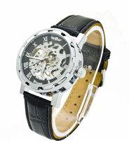 Fashion Black Leather Strap Stainless Steel Skeleton Dial Winner Mechanical Watch Man Gold Mechanical Wrist Watch 10pcs/lot