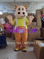Adult sizes   yellow Mongolian cow   Mascot Costume Cartoon Fancy sexy Halloween Dress kids party  Free shipping