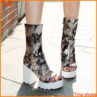 2014 New fashion peep toe chunky high heel women's sandals boots zipper platform shoes mid calf summer boots shoes 1806